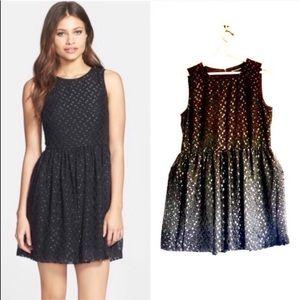 FCUK Iridescent Jacquard Polka Dot Fit Flare Dress